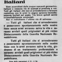 Volantino lanciato sull'Appennino forlivese nel corso del rastrellamento dell'aprile 1944 per invitare i partigiani alla resa