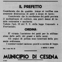 Manifesto con l'ordinanza del prefetto del 2 marzo 1943, che testimonia la drammatica situazione alimentare della provincia