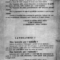 Volantino diffuso dai gruppi di difesa della donna nel marzo 1944