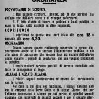 Impressionante è la quantità di bandi, ordinanze, disposizioni, divieti emanati dai comandi, organizzazioni, enti tedeschi e della Repubblica Sociale Italiana negli anni 1943-44. Nei primi mesi dell'occupazione ebbero una cadenza quasi quotidiana