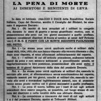Volantino che richiama il testo del decreto emanato da Mussolini il 18 febbraio 1944, che introduceva la pena di morte per i disertori e i renitenti di leva
